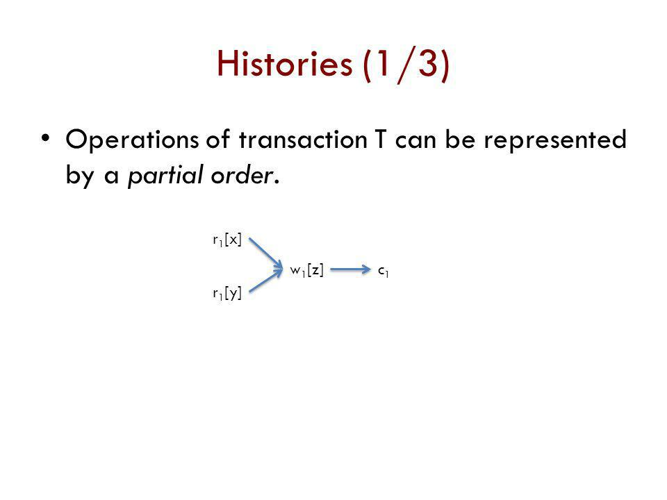 Histories (1/3) Operations of transaction T can be represented by a partial order. r1[x] r1[y] w1[z]